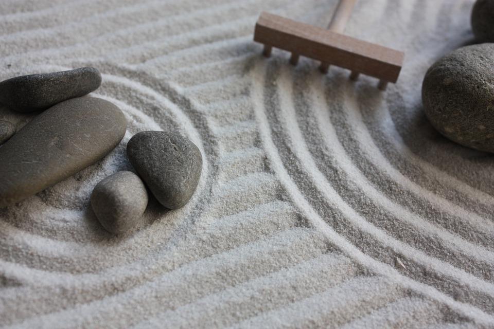 Sand Mock Up Stones Zen Japan Garden
