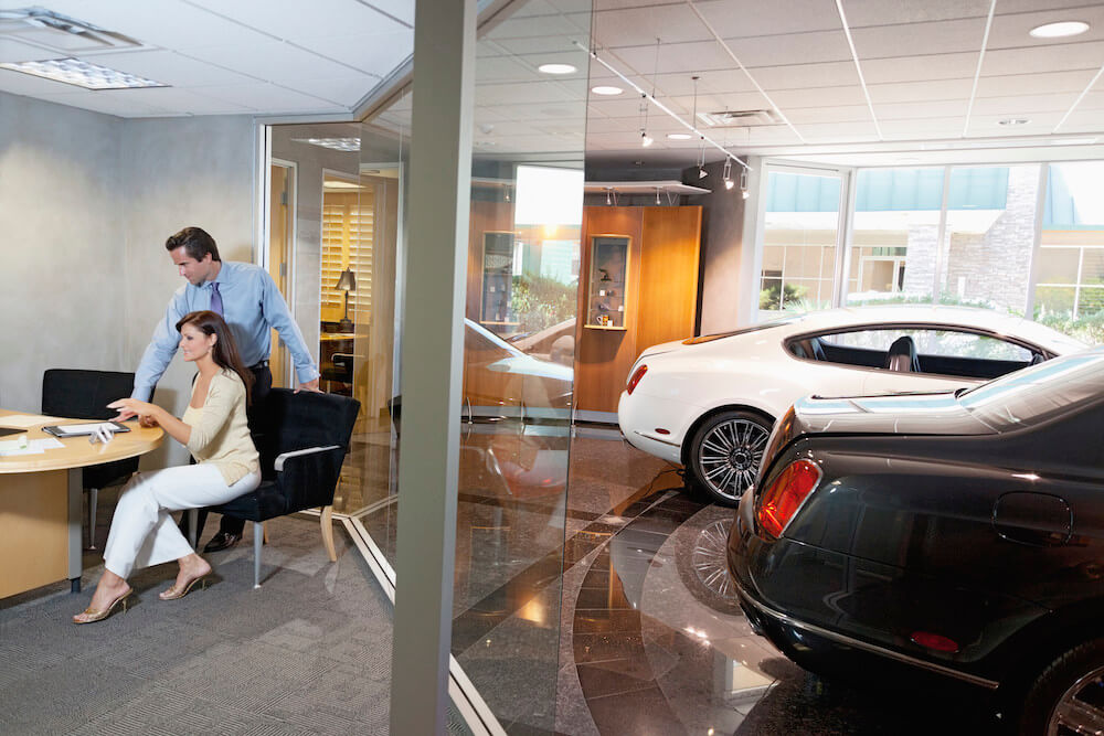 car dealership sales office new cars