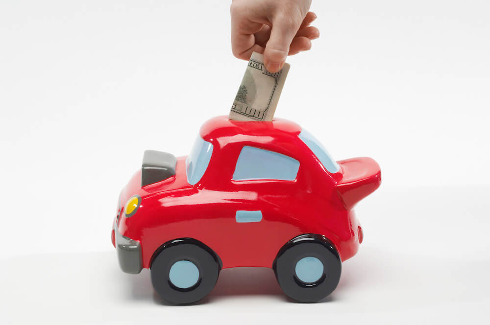 saving money in car savings bank