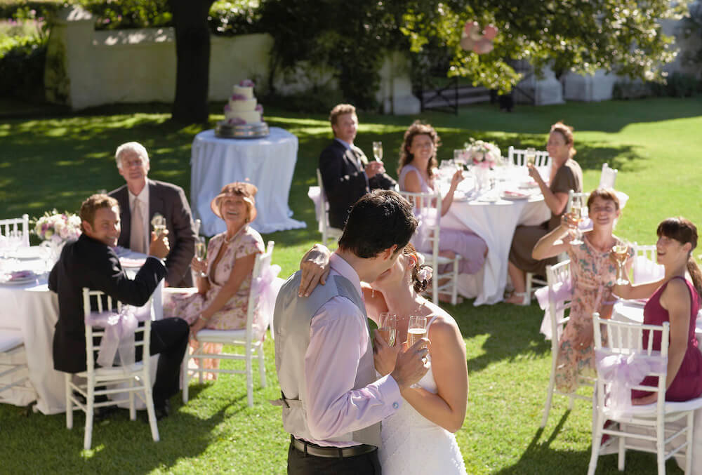 wedding bride and groom kissing